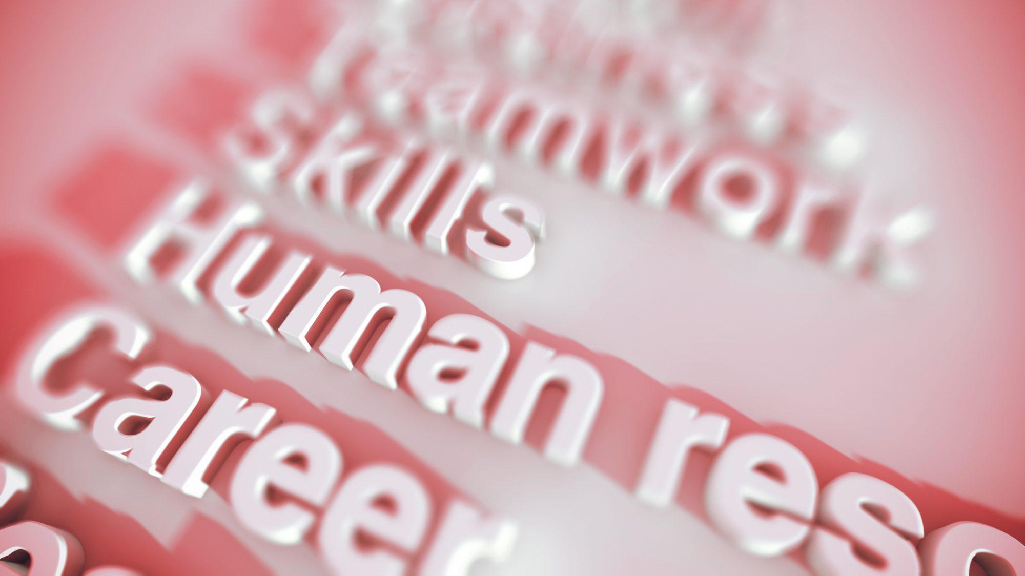human resources, skills, career, reamwork keywords rendered in 3D type